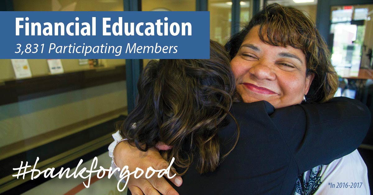 Two women hugging with caption: Financial Education, 3,831 participating members in 2016-17, #bankforgood