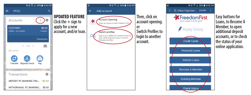 Smartphone with Mobile App showing account opening instructions.