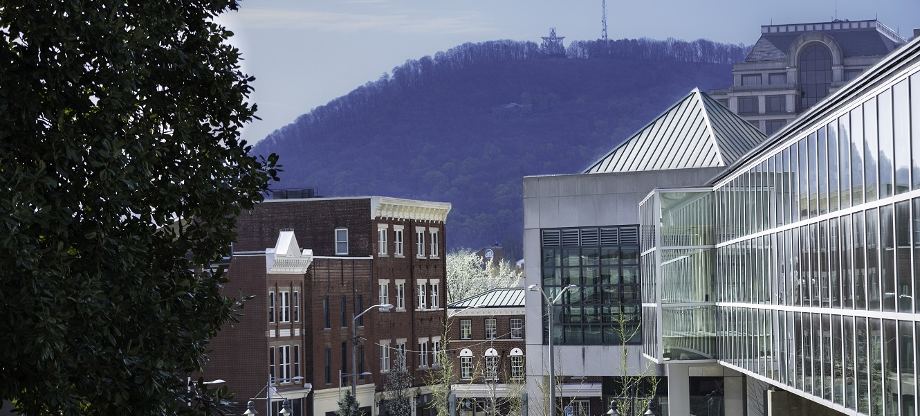 A view of the Mill Mountain Star framed by downtown Roanoke's buildings.