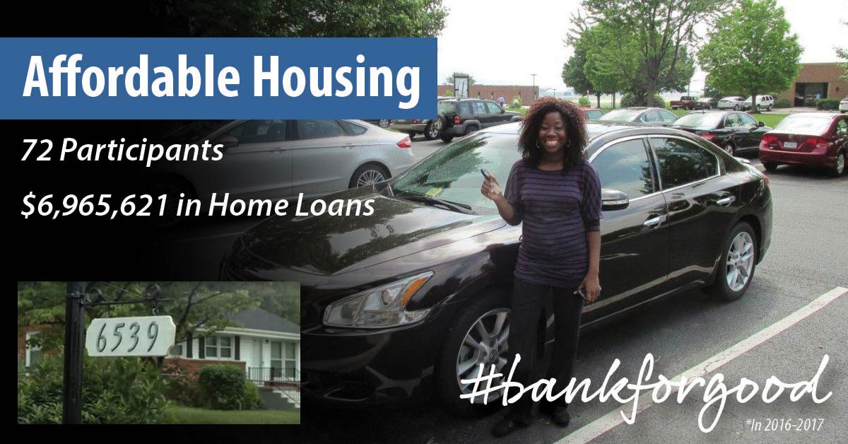 Smiling woman standing next to car; inset image of her house; caption: affordable housing, 72 participants, $6,965,621 in home loans