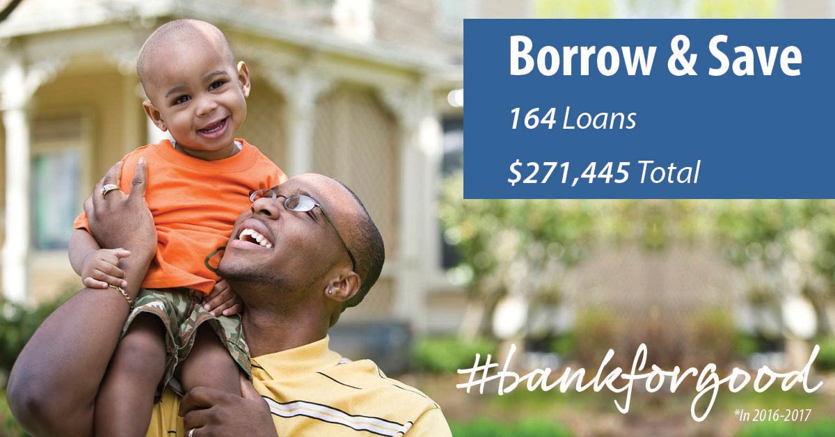 Man carrying his son on his shoulder with caption: Borrow & Save, 164 loans, $271,445 total, #bankforgood