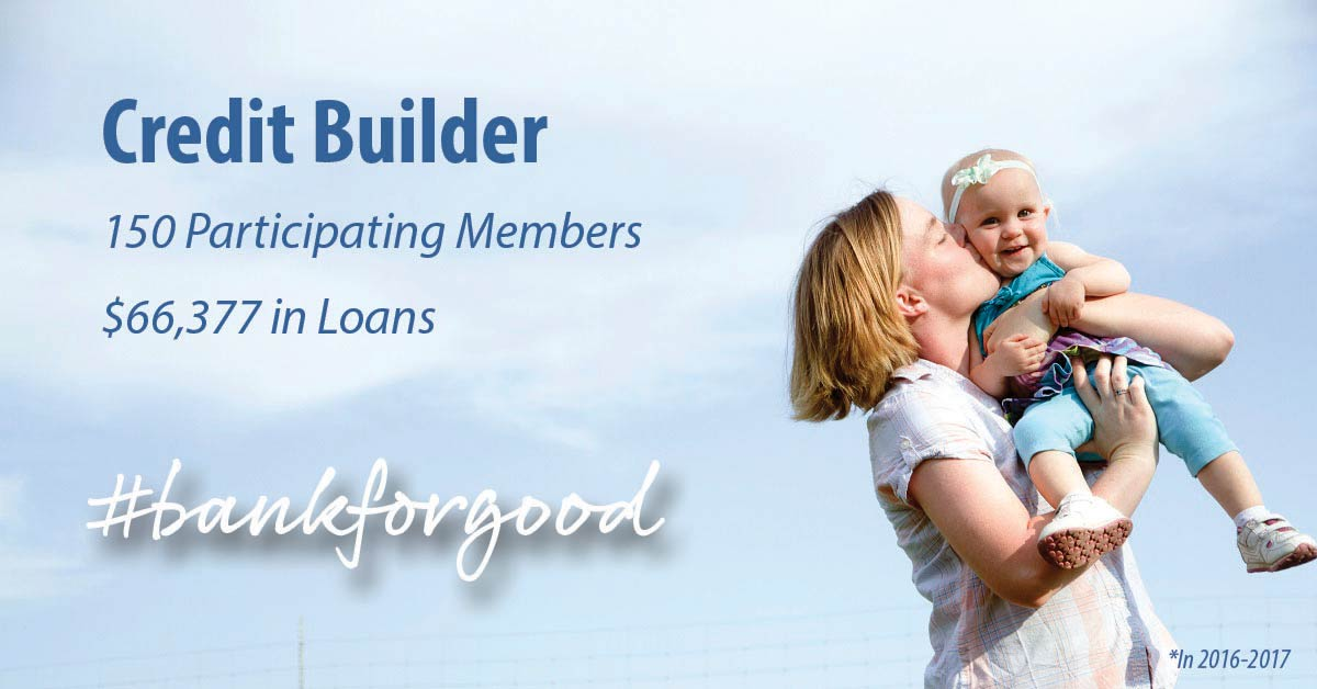 Woman kissing her baby with caption: Credit builder, 150 participating members, $66,377 in loans, #bankforgood