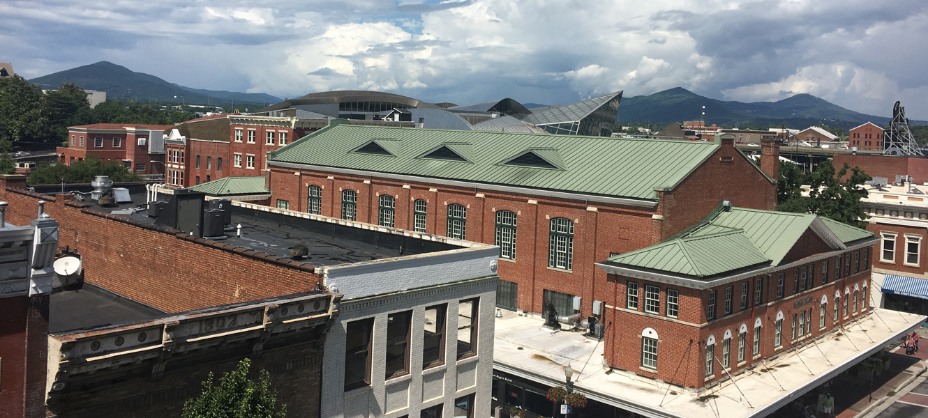 View of the Roanoke City Market Building from above