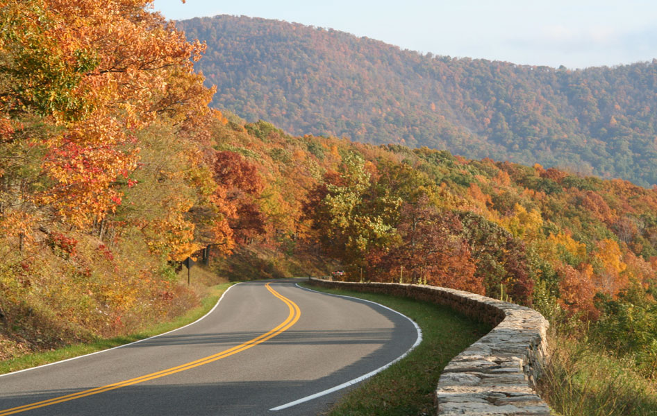 Winding road in the Blue Ridge Mountains in fall