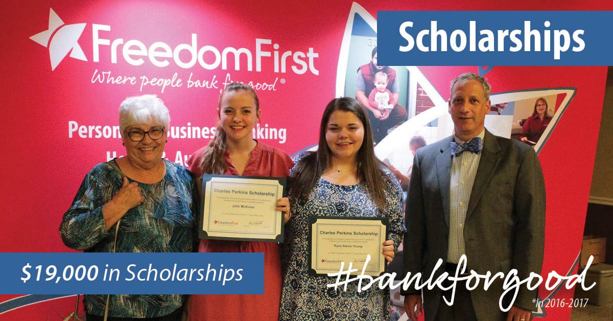 Scholarship recipients posting with their certificates; caption: Scholarships, $19,000 in scholarships, #bankforgood