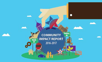 Cover of the Freedom First 2016-2017 Community Impact Report. A graphic depicting Roanoke area iconography and the Freedom First star.