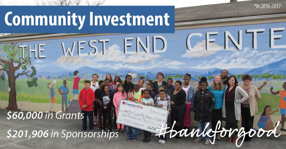 Group of children standing in front of West End Center mural holding large Freedom First check; caption: Community investment, $60,000 in grants, $201,906 in sponsorships, #bankforgood