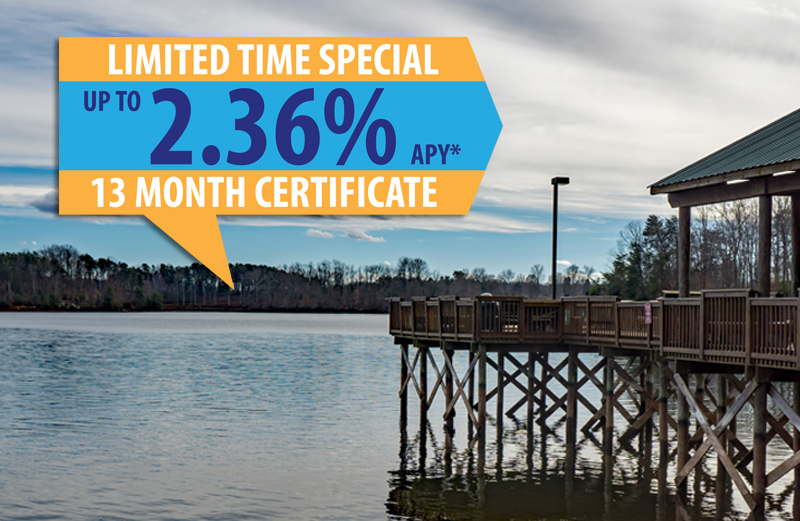 Pier at Smith Mountain Lake with text: limited time special up to 2.36% APY* 13 month certificate
