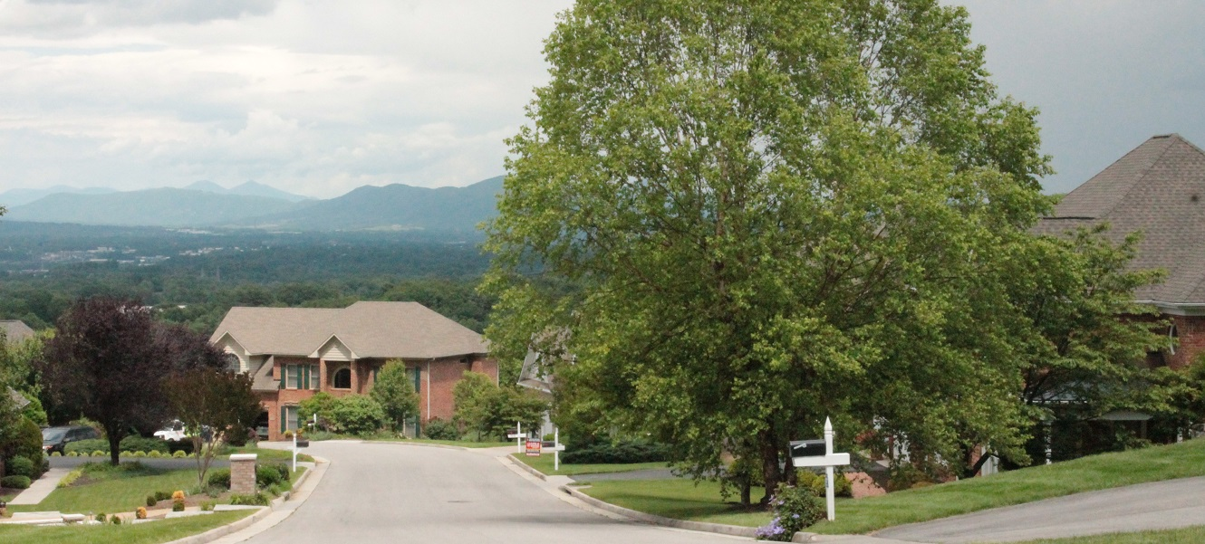 A suburban neighborhood with a mountain view.