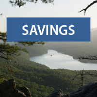 Text: Savings; Background: Carvin's Cove