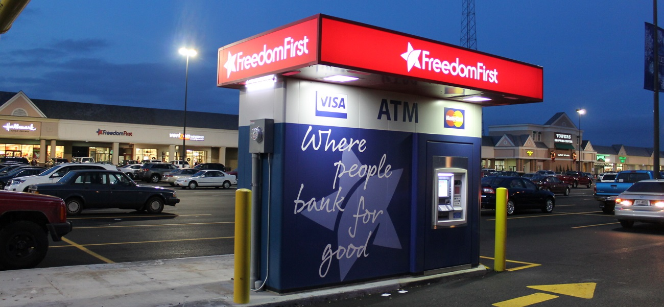 A Freedom First drive-up ATM at the Towers Shopping Center.