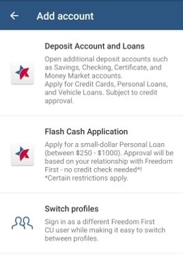 Screen shot of the Flash Cash application on the Freedom First mobile app