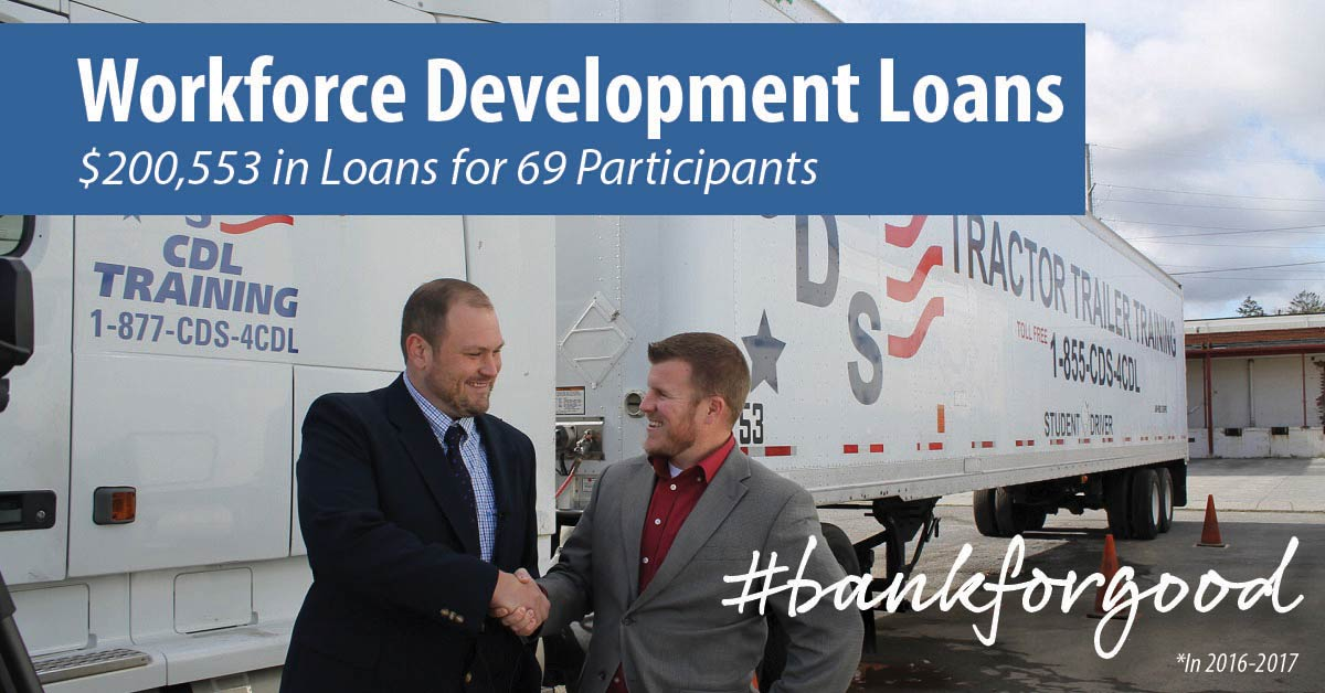 Two men shaking hands in front of a freight truck with caption: Workforce development loans, $200,553 in loans for 69 participants, #bankforgood