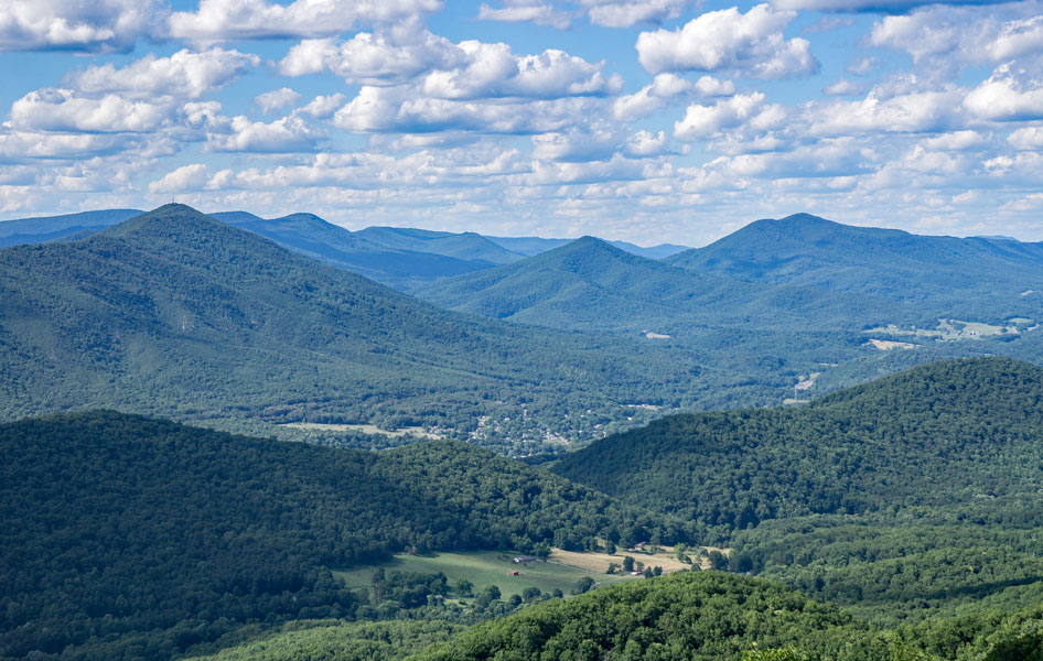 Vista view of Roanoke mountains