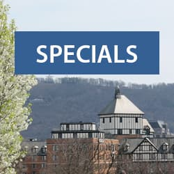 Text: Specials; Background: Hotel Roanoke