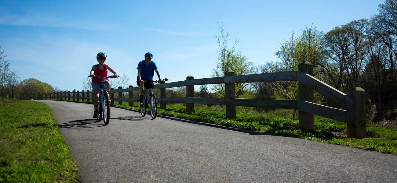 Father and daughter riding bicycles on the greenway