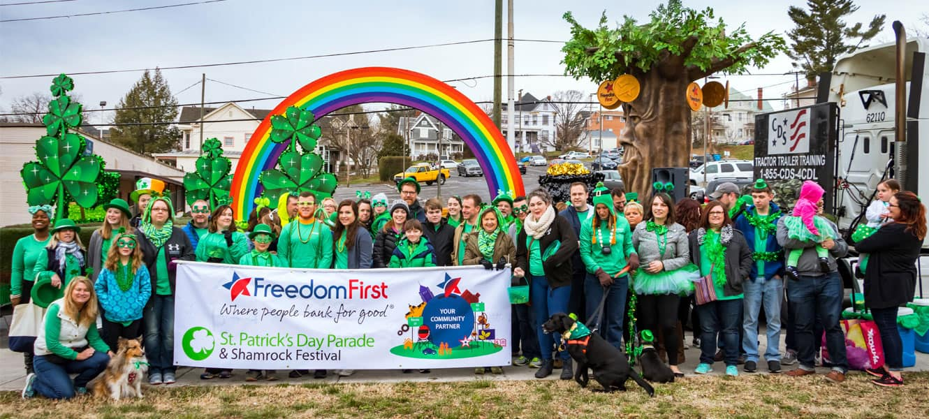 Freedom First employees at the St. Patrick's Day Parade float.